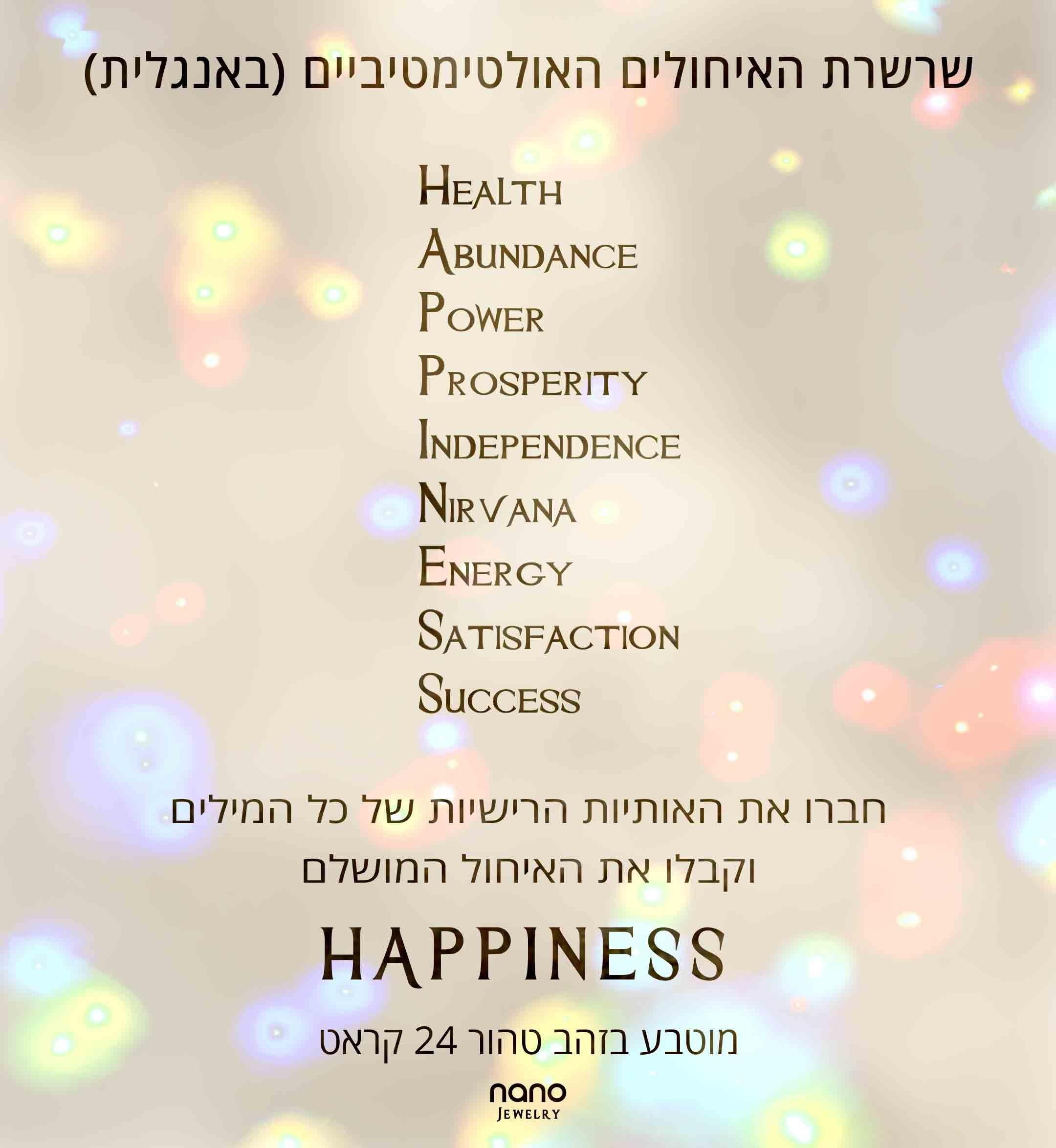 מתנות ליום הולדת – ברכות מהלב ליום הולדת- שרשרת עם איחולים לאושר-Happiness – ננו תכשיטיםמתנות ליום הולדת – ברכות מהלב ליום הולדת- שרשרת עם איחולים לאושר-Happiness – ננו תכשיטים