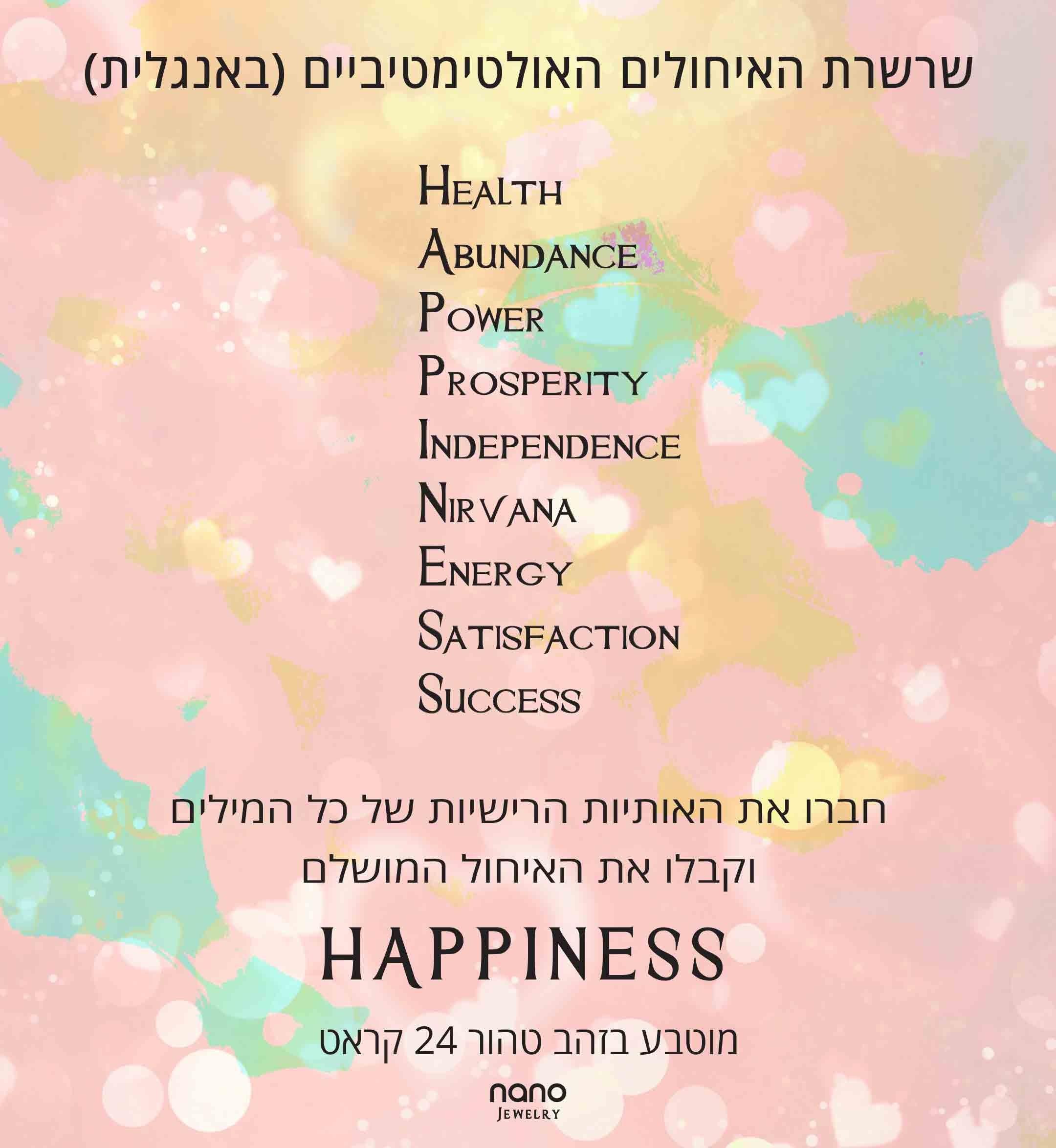 תכשיטים לאישה ליום הולדת– תכשיט עם איחולים לאושר-Happiness – ננו תכשיטיםתכשיטים לאישה ליום הולדת– תכשיט עם איחולים לאושר-Happiness – ננו תכשיטים