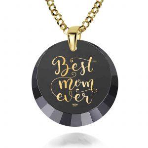 מתנה לאמא ליום הולדת 45 - Best Mom Ever - מוטבע בזהב טהור על האבן - ננו תכשיטים