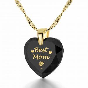 מתנה מיוחדת לאמא - Best Mom - האמא הכי טובה בזהב טהור - ננו תכשיטים